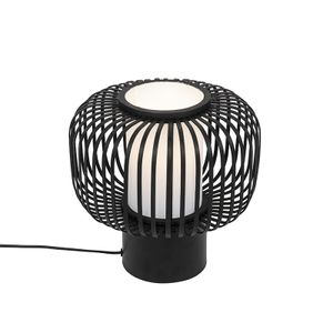 QAZQA - Landhaus | Vintage Moderne Tischlampe schwarz mit Bambus - Bambuk | Wohnzimmer | Schlafzimmer - Stahl Rund - LED geeignet E27