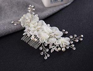 Handarbeit Eleganter Retro elegant Damen Blumen Braut Kamm Perlen Strass Hochzeit Brautschmuck Braut Haarschmuck Strass Haarklammer