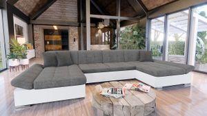Mirjan24 Ecksofa Alia mit Regulierbare Armlehnen, U-Form Schlafsofa vom Hersteller mit Zwei Bettkasten, Wohnlandschaft (Soft 017 + Lux 05 + Lux 06)