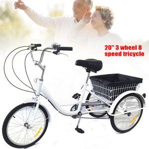 20Zoll 3 Rad Fahrrad Dreirad Erwachsenenrad Citybike 8 Geschwindigkeit Weiß Einkaufskorb für Erwachsene Senioren