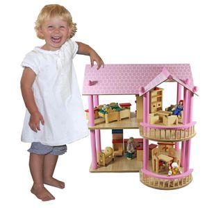 riesiges XL Puppenhaus Villa Puppenvilla Dollhouse Holz Möbel Puppen 2 Etagen