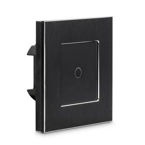 Navaris Touch Lichtschalter Wandschalter - mit Montagematerial Glas Panel und Status-LED - Licht Schalter innen außen - Einbauschalter Schwarz