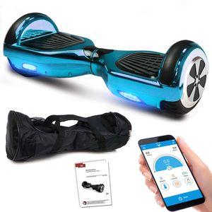 Smartway Hoverboard 6, 5 Zoll 600W-Motion V.5 mit App Funktion, Bluetooth Lautsprecher, Kinder Sicherheitsmodus, Self Elektro Balance Scooter - Blau Chrome