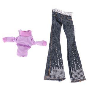 Puppenkleider Lila Top \\u0026 Denim Hosen Für Monster High Puppe Zubehör