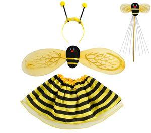 Kostüm Marienkäfer Biene Set Verkleidung Kinder Rot/Schwarz 4 Elemente Komplett Outfit 6613, Muster:Biene