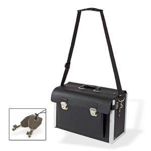 Leder Werkzeugkoffer Werkzeugtasche Werkzeugkiste mit 22 Halteschlaufen schwarz