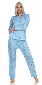 Damen Pyjama lang zweiteiliger Schlafanzug Pyjama-Set Nachtwäsche Blau L