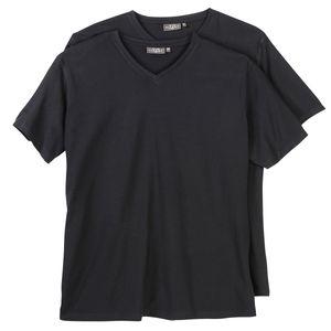 Doppelpack V-Neck T-Shirt Herren Kitaro Übergröße schwarz, Größe:2XL