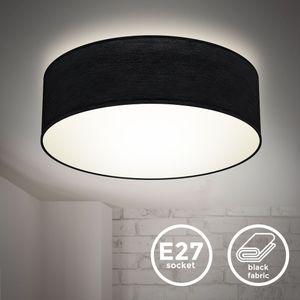 Deckenlampe Stoffdeckenleuchte Deckenleuchte Bürolampe Textilschirm E27 1-Flammig Ø30cm Schwarz ohne Leuchtmittel B.K.Licht
