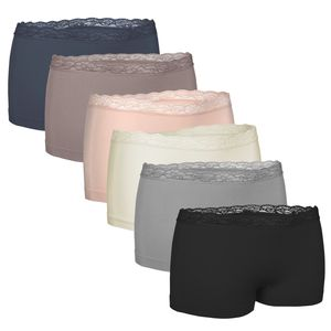 6er-Set seamless Damen-Pantys mit Spitze, in Schwarz oder als Farb-Mix, Größe:XL, Farbe:Multifarb Set