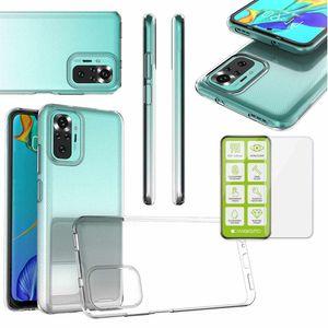Für Xiaomi Redmi Note 10 Pro Silikoncase TPU Transparent + 0,26 H9 Glas Tasche Hülle Schutz Cover