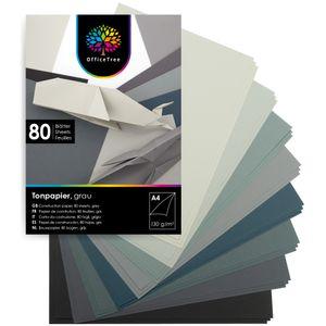 OfficeTree 80 Blatt Bastelpapier Grau Töne - Bastelset Kinder - Tonpapier A4 130g/m² zum Basteln Gestalten - 10 Farben