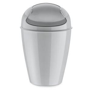 Koziol Del S Schwingdeckeleimer, Papierkorb, Abfalleimer, Abfallbehälter, Mülleimer, Kunststoff, Soft Grey, 5 L, 5777663