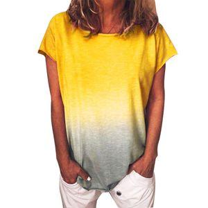 Plus Size Frauen Casual Tie Dye T-Shirt Sommer Rundhalsausschnitt Kurzarm T-Shirt Top Gelb L.