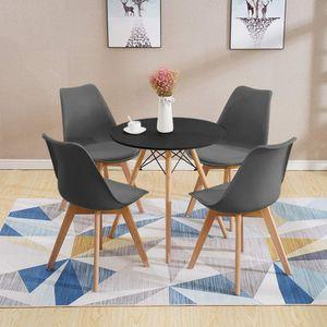 Esstisch mit 4 Stühlen Dunkelgrau Esszimmer Essgruppe(Runde) 70x70x75cm lässiger Tisch   Kunstleder Essensstuhl