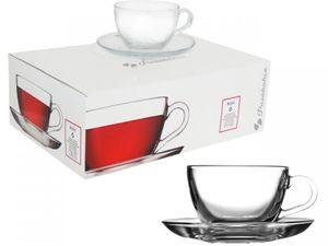 Pasabahce 97948 (Basic) Reihe – Kaffee Tassen mit Untertassen Set Tee Gläser