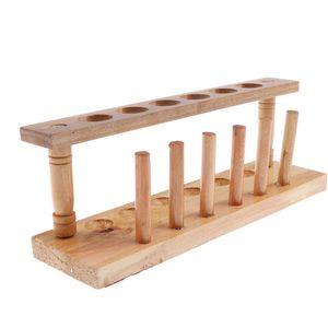6 Löcher Holz Reagenzglas Ständer Lagerung Inhaber Lehrmittel Labor Lieferungen