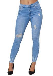 Damen Denim Skinny Stretch Jeans High Waist Destroyed Fransen Design Röhren Hose Bleached, Farben:Blau, Größe:42