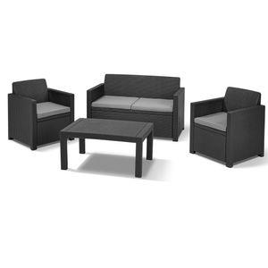 Allibert Lounge-Set Merano 8-teilig, Farbe Graphit, 2x Sessel, 1x Bank, 1x Tisch, 4x Sitzauflagen