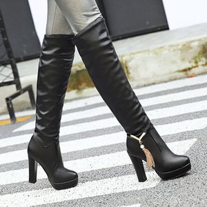 Mode Reine Farbe Runde Zehen Slip-On Stiefel Quadratische Absätze Vintage Frauen Stiefel Größe:39,Farbe:Schwarz