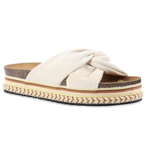 Giralin Damen Sandaletten Pantoletten Ethno Look Profil-Sohle Schuhe 837620, Farbe: Creme, Größe: 38