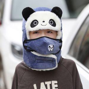 Blau Kinder Winter Mütze Mit Atemventil + Ohrenklappen Trapper Hut Plüsch Wärmerer Lei Feng Kappe Kältesicher Skimütze
