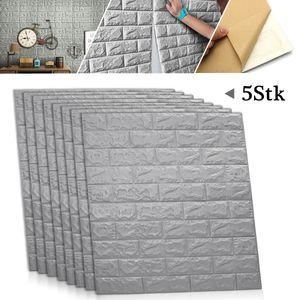 Sunnyme 5 Stk 3D wasserdichte Fliesen Ziegel Wandaufkleber selbstklebende Schaum Panel Dekor Wandtattoos