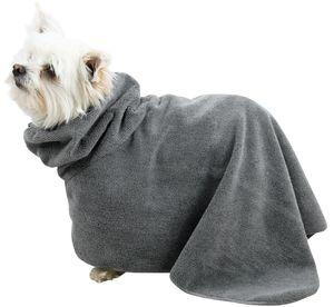 Hundebademantel / Haustiermantel, grau, Rückenlänge ca. 40 cm, Gr. S, Mikrofaser