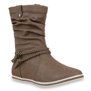 Mytrendshoe Damen Schlupfstiefel Sportliche Stiefel Boots Schnalle 70991, Farbe: Khaki Khaki, Größe: 42