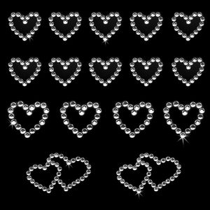 Oblique Unique 16 Herz Sticker Strass Steine Aufkleber Hochzeit Deko - silber
