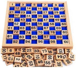Montessori Mathematik Puzzle Holz Digital Board 1-100 Kontinuierliche Zahlen Kinder Kind Mathe Unterricht Hunderterbrett für frühe Motorik Entwicklung & Ausbildung ihres Kindes