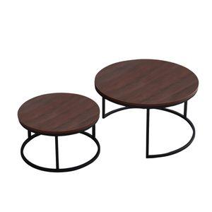 2er Set Couchtisch mit schwarz Eisengestell 80 x 45 cm & 60 x 33 cm braun rund Stück Holz Metall Sofatisch stabil Wohnzimmertisch