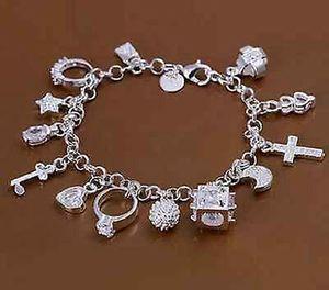 1X Neu Silber plattiert Armband Bettelarmband Zirkonia 13 Anhänger 19 cm M9P4