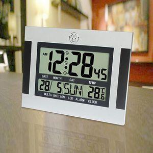 Digitale Wanduhr Funkwanduhr mit Thermometer und Kalender
