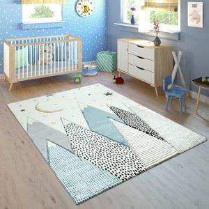 Kinderteppich Kinderzimmer Pastell Blau Grau Berg Mond Sterne Strapazierfähig, Grösse:120x170 cm