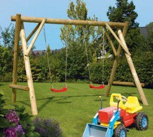 Doppel Schaukel / Holzschaukel Stabil Rundholz 350x200x236cm