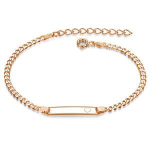MATERIA Gravur Armband Damen Rosegold - Armkette mit Herz Gravurplatte und Verlängerungskette 17-21cm SA-15-Rose, Schrifttyp:Ohne Gravur