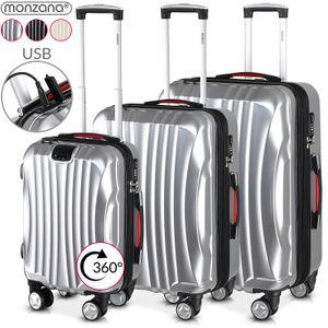 M L XL Hartschalenkoffer Reise Trolley Koffer mit 4 Rollen TSA Schloss Hard Case, Größe/Farbe:XL - silber