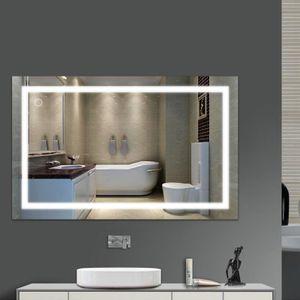 Badspiegel mit LED Beleuchtung Badezimmerspiegel Bad Spiegel Wandspiegel Maß 100*60cm