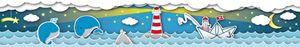 Lovely Kids selbstklebende Kinderzimmer Bordüre Fishing Captain blau gelb rot weiß grau 5,00 m x 0,155 m