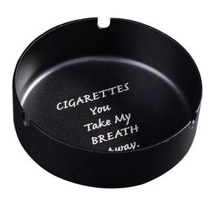 Edelstahl Aschenbecher Desktop Tisch Papierkorb kann Zigarrenhalter Rack schwarz 10 x 3 cm