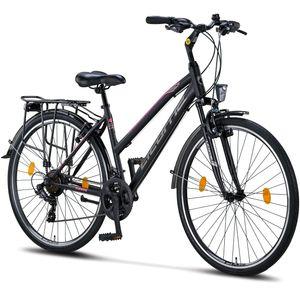 Licorne Bike L-V-ATB  Premium Trekking Bike in 28 Zoll - Fahrrad für Herren, Jungen, Mädchen und Damen - Shimano 21 Gang-Schaltung - Citybike - Männerfahrrad , Farbe:Schwarz/Rosa, Zoll:28.00