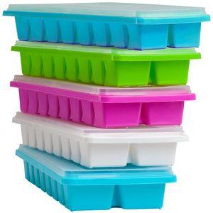 5x Eiswürfelform mit Deckel für je 16 Eiswüfel Eiswürfelform Eiswürfelbereiter