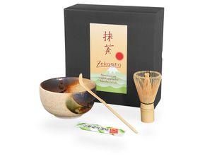 Matcha Set / Matchaset mit original japanischer Matcha Schale 450ml beige/braun, Besen, Löffel in Geschenkbox