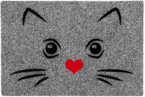 Betz Fußmatte Fußabstreifer Schmutzfangmatte Katze mit Herzmund  Farbe grau Größe 40x60cm