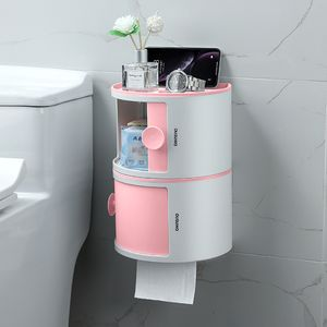 HAOGUT 2er-Set Toilettenpapierhalter mit Ablage & Deckel, Bad Organizer Stapelbox Klopapierhalter WC Rollenhalter selbstklebend ohne Bohren wasserdicht Hängeregal