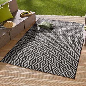 In- & Outdoorteppich Karo Schwarz | 102470, Größe:80x150