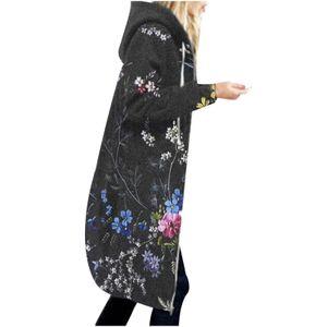Frauen Warm Hoodie Blumendruck Reißverschluss Baumwollmischung Strickjacke Mantel Lange Oberbekleidung Größe:XL,Farbe:Grau
