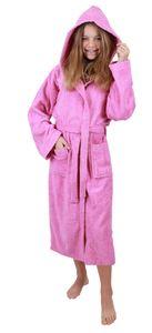 Betz Kinderbademantel mit Kapuze DUBLIN 100% Baumwolle Kinder Bademantel uni, Größe - 176, Farbe rosa