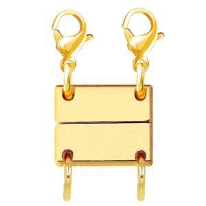 2 Stück 2Reihen Kette Magnetverschluss Magnetisch Armband Zubehör Geschichtet Halskette Schmuckverschlüsse für stapelbare Halsketten, Armbänder(Gold)